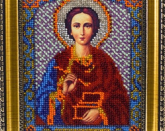 Bead-embroidered icon Orthodox saint Panteleimon Healer picture gift present beadwork embroidery beads art