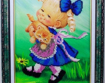Beaded picture Cute little girl with red cat ginger kids children room decor gift beadwork embroidery bead art interior design decoration