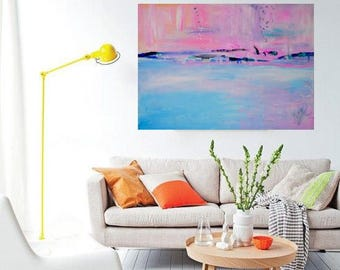Abstract painting Blue Pink Abstract home decor