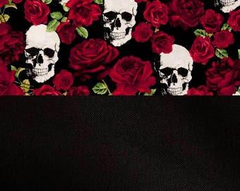 Roses and skulls baby blanket, red roses, black back