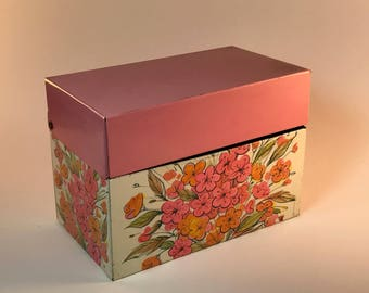 Pink and Floral Vintage recipe box