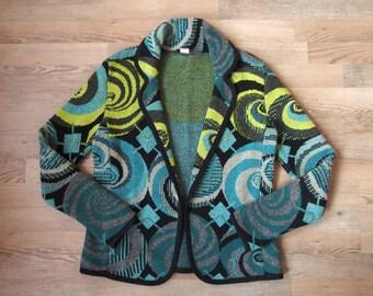 Kenzo Jeans crazy print cardigan blazer sweater boho hippie lagenlook retro gypsy vintage black quirky artsy S