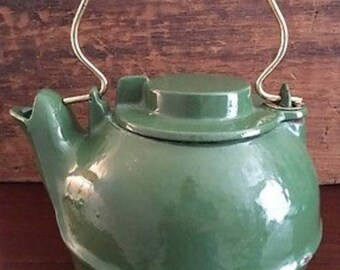 Enameled Green Cast Iron Teapot or Tea Kettle (Very Heavy)