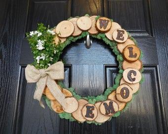 Custom Wood Burned Welcome Wreath