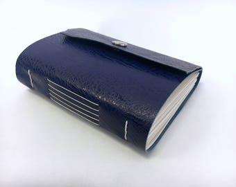 Blue handmade leather Italy travel journal notebook sketchbook