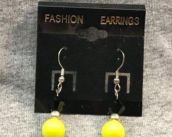 Black and Yellow dangle earrings