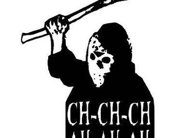 Jason Vorhees Friday the 13th Halloween Horror Vinyl Car Decal Bumper Window Sticker Any Color Multiple Sizes
