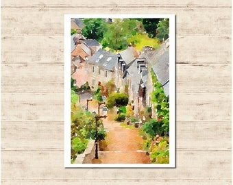 Lannion Brittany France Watercolour Painting Postcard Poster Art Print Q139