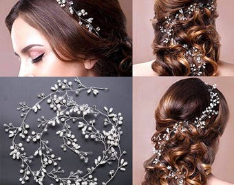 1 metre pearl and crystal beads bridal hair garland