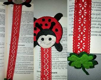 Bookmark lucky clover Ladybug and hand-stitched felt
