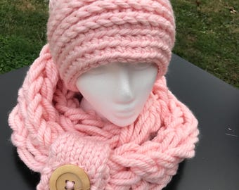 Chunky Messy Bun Hat and Scarf Set