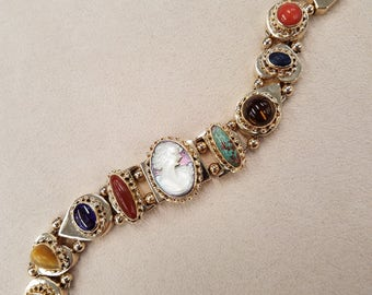 14k yellow gold vintage slide charm bracelet