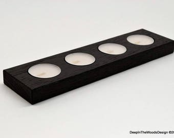 Black Tealight Candle Holder  – Wood Candle Holder– Home Décor & Housewarming Gift