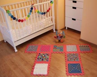 RED -GREY Massaging Sensory Mat For Toddler Feet/ Kids Sensory Rug (9 pcs)