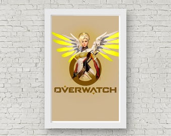 Overwatch MERCY Poster, Game Poster, Flat Print Design, Digital Printable Poster, Blizzard wall art, Instant Download, game art
