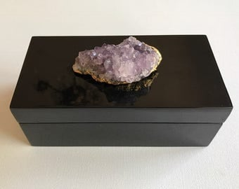 Small Lacquer Box with Amethyst Geode