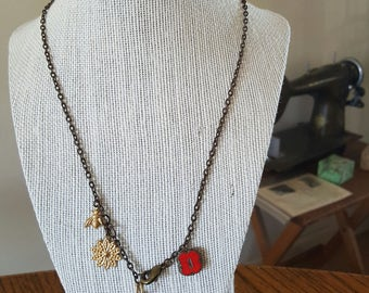 Necklace brass Y lariat Czech glass
