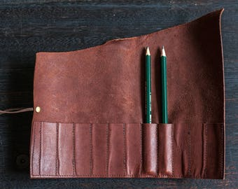 Pencil Scroll - Kangaroo Leather (Chocolate Brown)