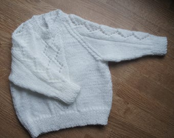 Baby girls white patterned jumper