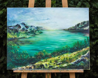 Mountain lake oil painting. Original Landscape oil painting on canvas. Green painting. Landscape art work