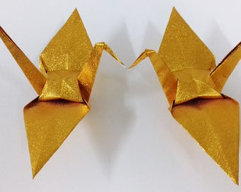 """100 Large Shiny Gold Origami Cranes Made From Paper Size 6"""" x 6"""""""