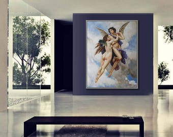 """Classical Painting, Hand Made Reproduction of William Adolphe Bouguereau, Cupid and Psyche, 36x48""""/90x120cm"""