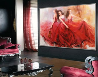 """Dancing Woman, Flamenco Spanish Passion Dancer,  48x72"""" /120x180cm Extral Large Dance Painting"""