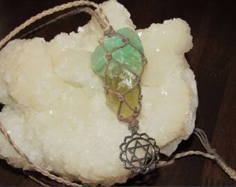 An Adjustable Earthy-Color Macrame (Knotted) Hemp Necklace with a Rough Green-Honey Calcite Stone and a Heart Chakra Symbol Pendant, CAL#4