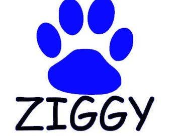 Dog Name/Big Paw Print Decal
