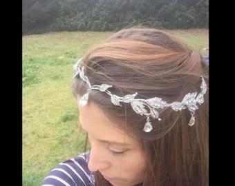Bridal Tiara Rhinestone Crown Wedding Prom Headpiece Headband Lord of the rings Arwen Galadriel Elves Silver Topaz Crystal