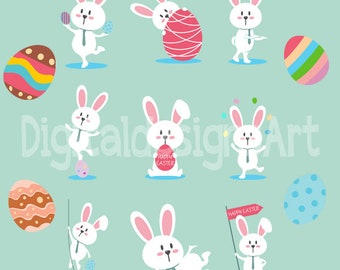 Easter bunny eggs clipart, easter printable, bunny clipart, egg clipart, cute bunny clipart, digital clipart, digital easter clipart