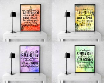 SPECIAL BUNDLE Harry Potter Gryffindor Ravenclaw Hufflepuff Slytherin Printable, Calligraphy, Printable Wall Art, Sorting Hat Song