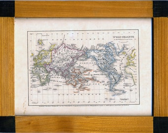 Antique 1823 German Framed Hand-Colored Engraved World Map