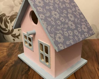 Hand decorated and painted bird house
