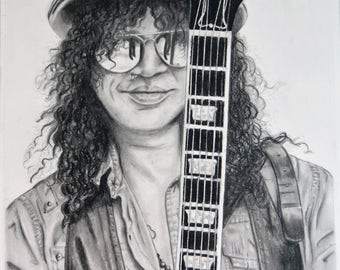 Slash, Guns n Roses charcoal A3 (print)