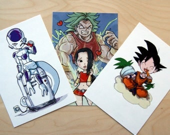 Dragon Ball Franchise Chibi postcards