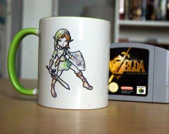Chibi Illustrated Mug : Link, from Legend of Zelda franchise.