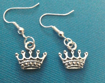 Crown tiara silver-plated charm earrings