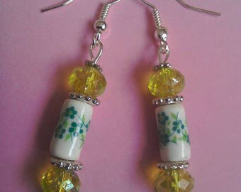Green ceramic floral bead earrings