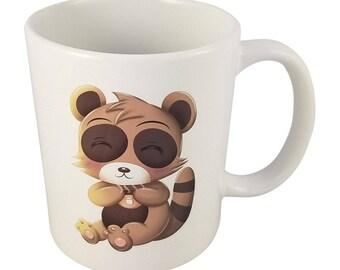 Cute Kawaii Chibi Raccoon Tanuki Mug