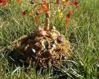 Beaded Fall Wire Tree Sculpture