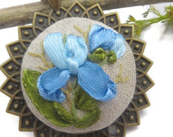 Hand embroidered irises necklace Daughter gift homemade jewelry Blue flower pendant Long chain pendant Flower embroidery necklace