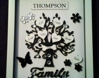 FAMILY TREE BLACK box frame personalised keepsake gift wooden