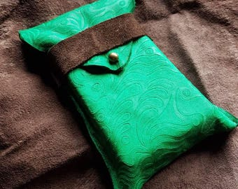 Patterned hand dyed green and brown leather tarot card/rune pouch larp/devination/shaman/Zelda inspired/D&D/dungeons and dragons/role play