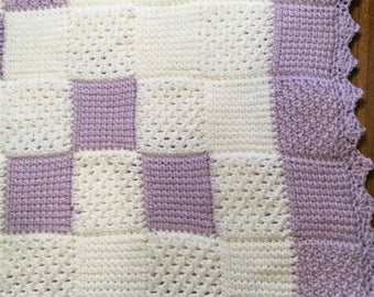 Purple Tunisian Crochet Baby Blanket