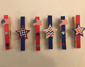 Patriotic Decorative Clothespins