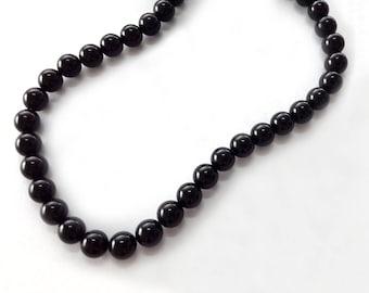 8mm black onyx,loose beads,black agate,large holes,beads,for onyx bracelet/necklace/pendant,loose gemstone, 25 beads