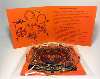 Customized 2 color Mandala 3D  wire meditation relaxation spiritual game toy anti stress jewelry bracelet shapes sacred geometry
