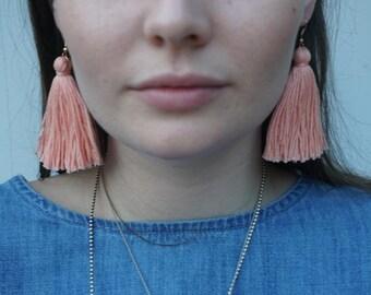 Tassel Earrings - Baby Peach