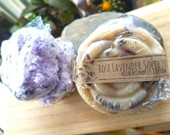Rose Lavender Solid Lotion Bar